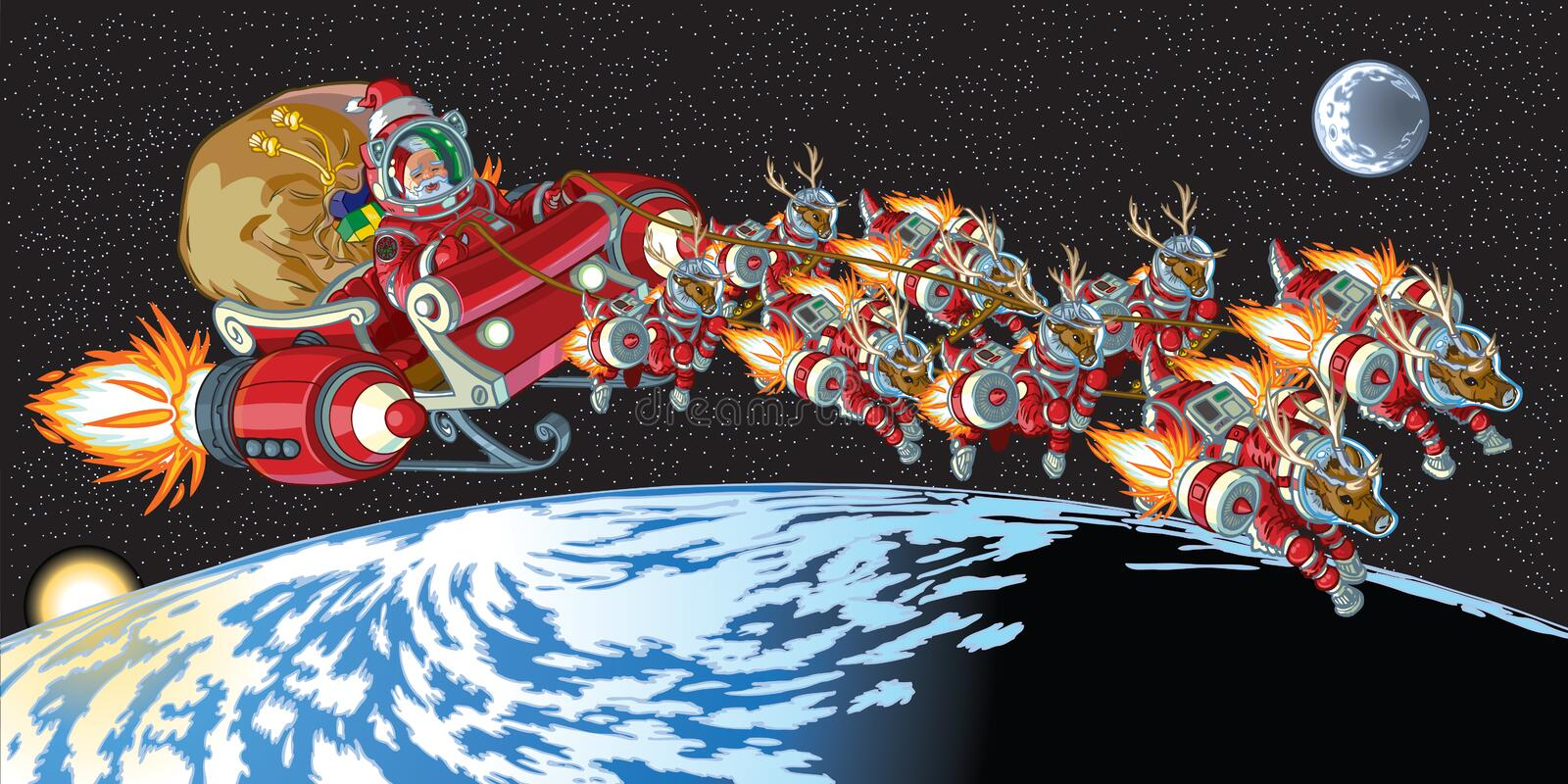 Astronauta Santa Claus e renna in orbita royalty illustrazione gratis