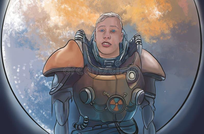 Astronauta selvagem ilustração royalty free