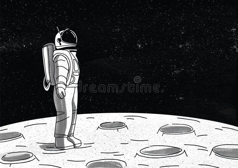 Astronauta solo en el spacesuit que se coloca en la superficie de la luna y que mira el espacio por completo de estrellas Planeta stock de ilustración