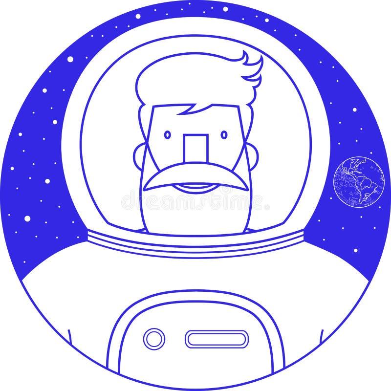 Astronauta sonriente barbudo de la muestra azul del icono en traje de espacio ilustración del vector