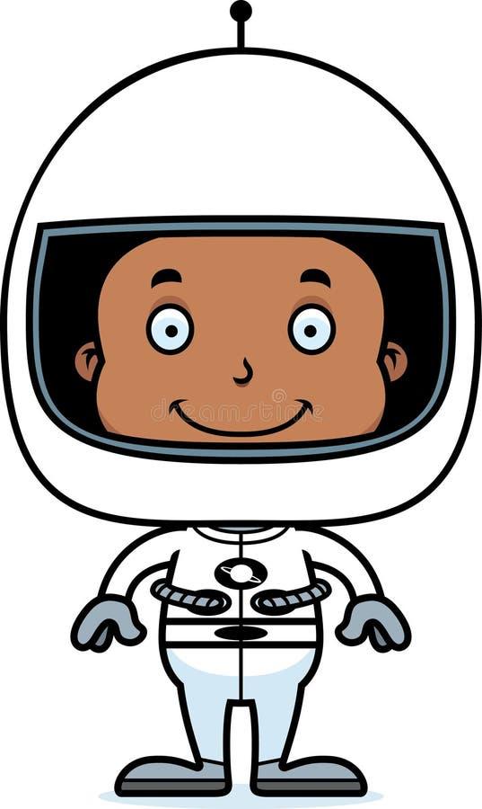 Astronauta sonriente Boy de la historieta stock de ilustración