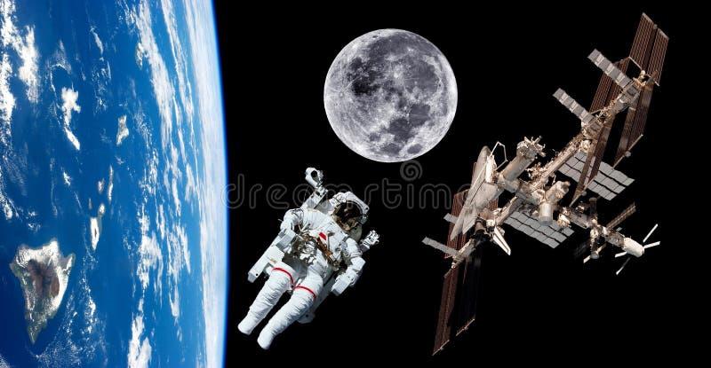 Astronauta Space do satélite de terra fotos de stock