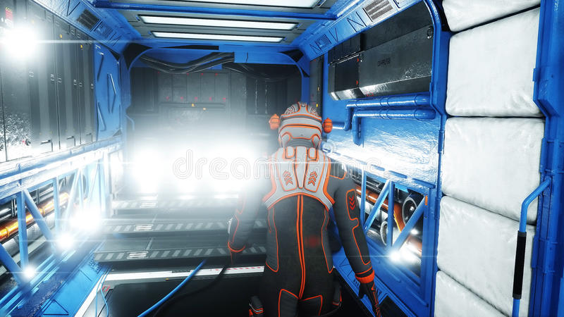 Astronauta spacer w fantastyka naukowa wnętrzu martian Fantastyka naukowa pojęcie świadczenia 3 d ilustracji
