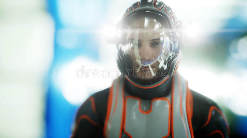 Astronauta spacer w fantastyka naukowa wnętrzu martian Fantastyka naukowa pojęcie świadczenia 3 d royalty ilustracja