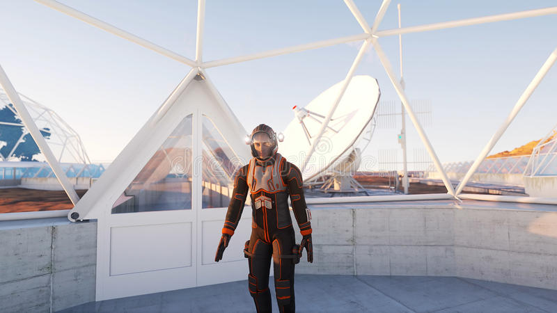 Astronauta spacer w fantastyka naukowa wnętrzu martian Fantastyka naukowa pojęcie świadczenia 3 d ilustracja wektor
