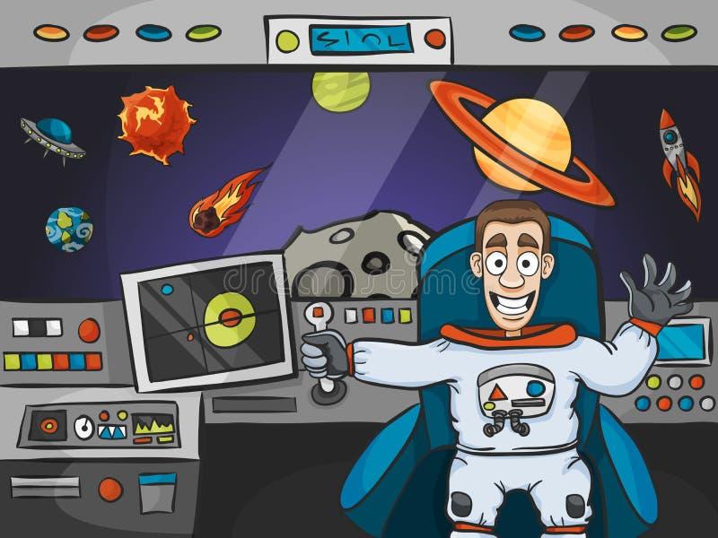 Astronauta In Spaceship ilustración del vector