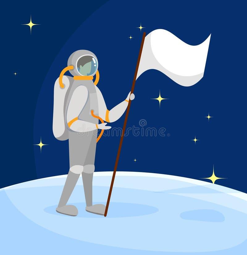 Astronauta Standing en superficie de la luna con la bandera blanca ilustración del vector
