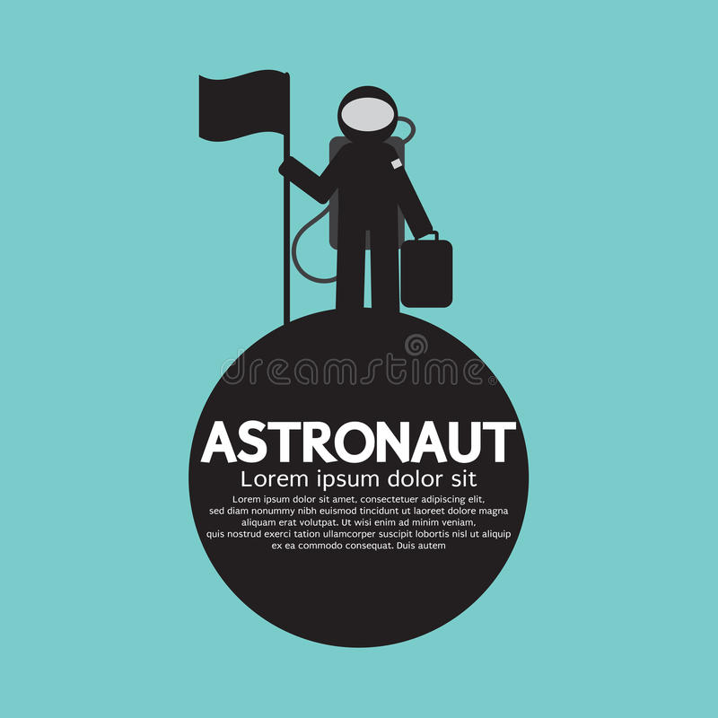 Astronauta Standing With Flag no planeta ilustração royalty free