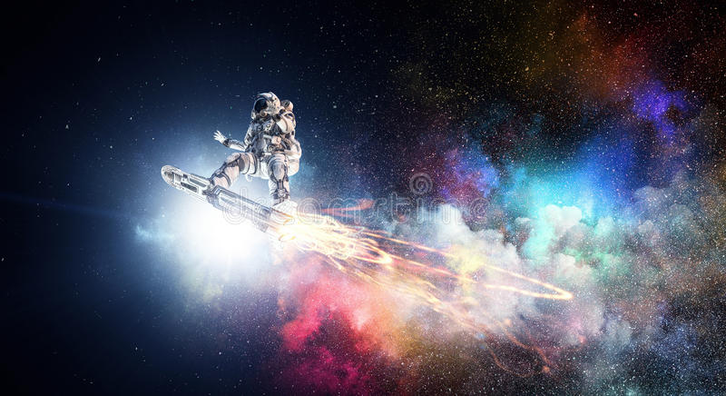 Astronauta sul bordo di volo Media misti fotografia stock libera da diritti