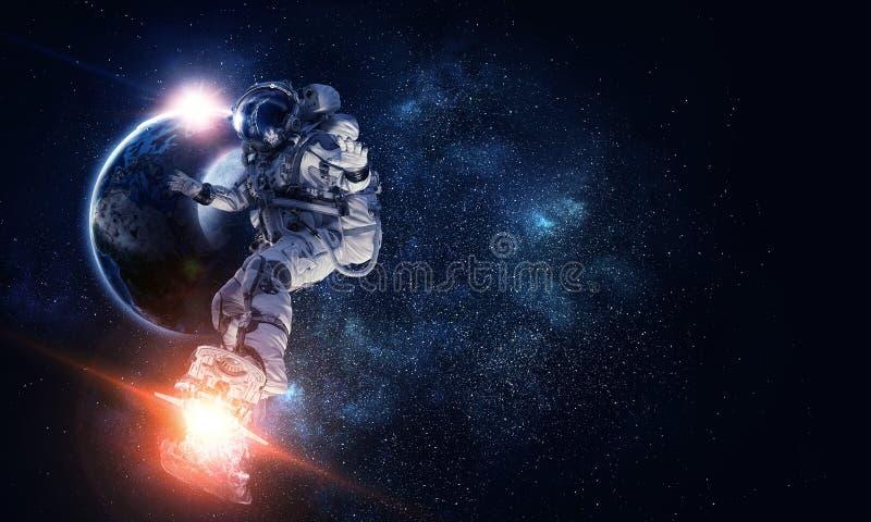 Astronauta sul bordo di volo Media misti fotografie stock