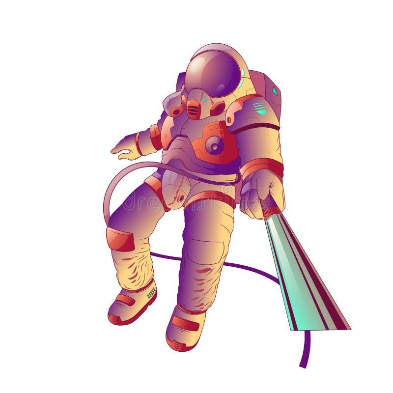 Astronauta tamponante sulla luna, illustrazione di vettore illustrazione vettoriale