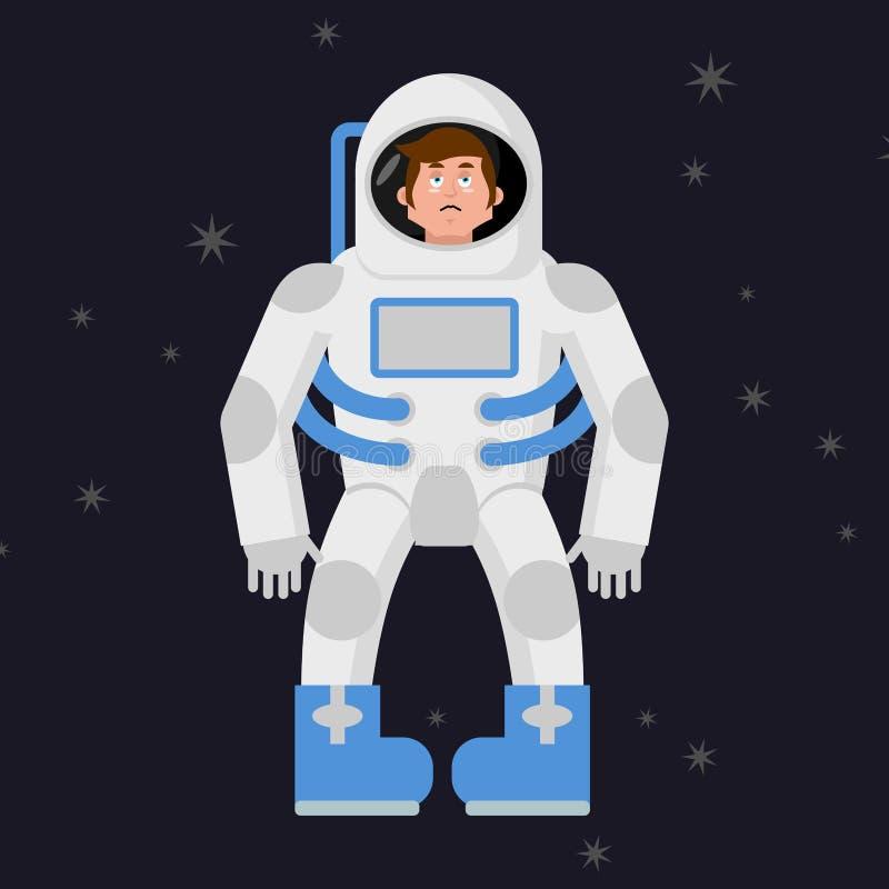 Astronauta triste en espacio exterior Astronauta pesimista triste SP ilustración del vector