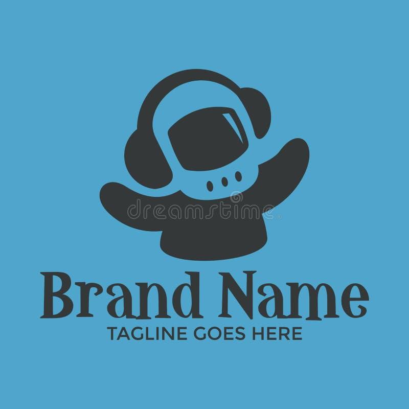Astronauta unico con il logo negativo dello spazio della cuffia illustrazione di stock