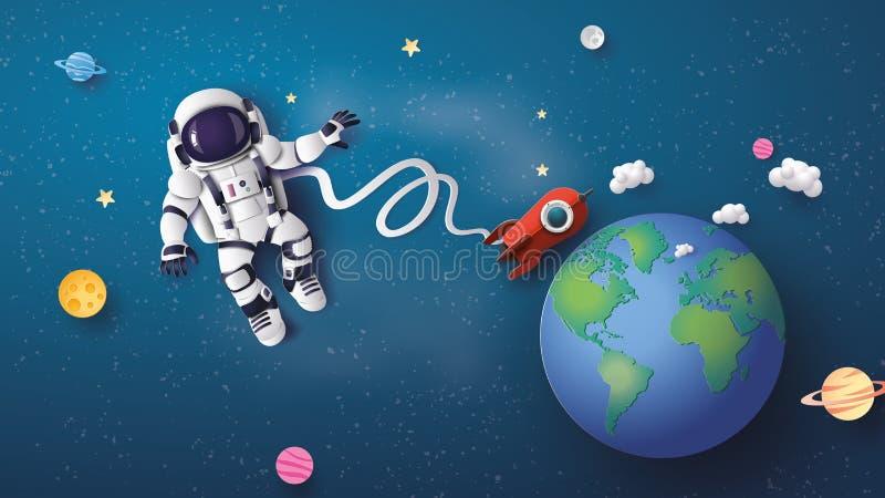 Astronauta unosi się w stratosferze ilustracji