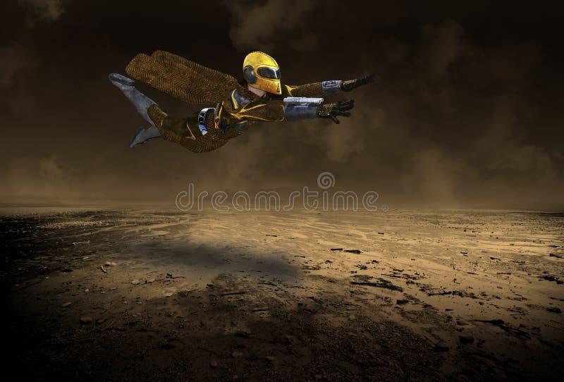 Astronauta Voador de Ficção Científica, Homem Espacial fotos de stock
