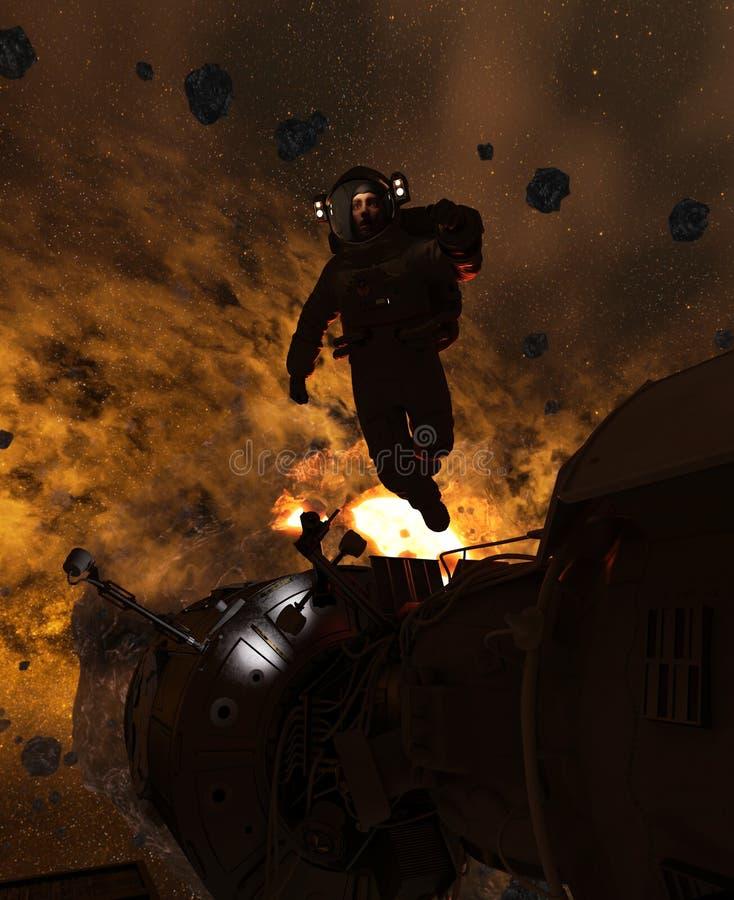 Astronauta w asteroidy polu ilustracja wektor