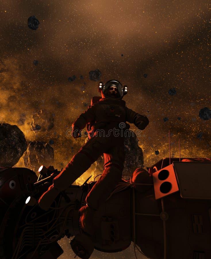Astronauta w asteroidy polu ilustracji