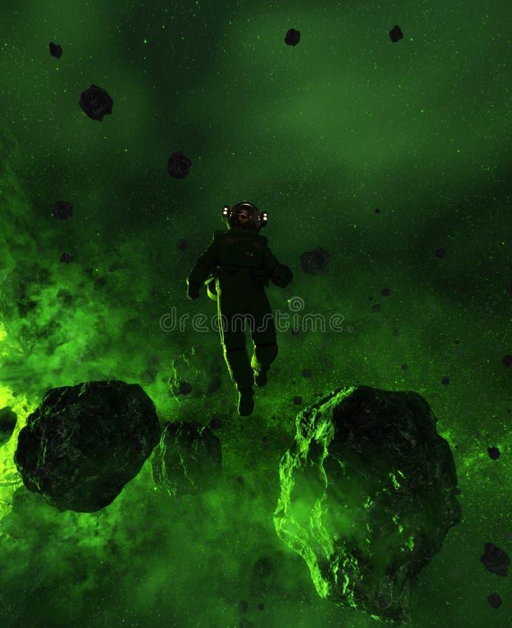 Astronauta w asteroidy polu royalty ilustracja