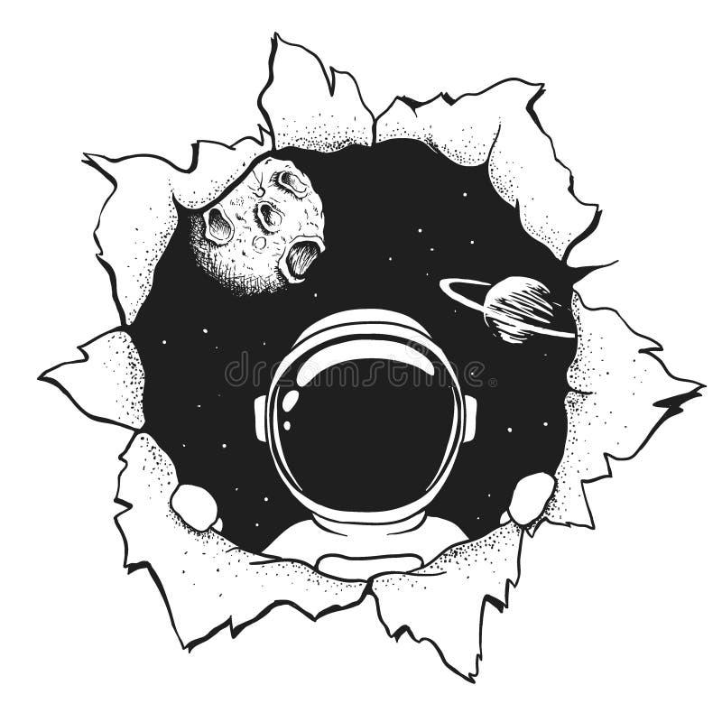 Astronauta w dziurze royalty ilustracja