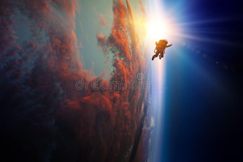 Astronauta w przestrzeni na planety orbicie fotografia royalty free