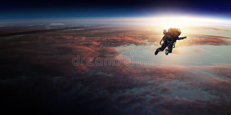 Astronauta w przestrzeni na planety orbicie zdjęcia royalty free