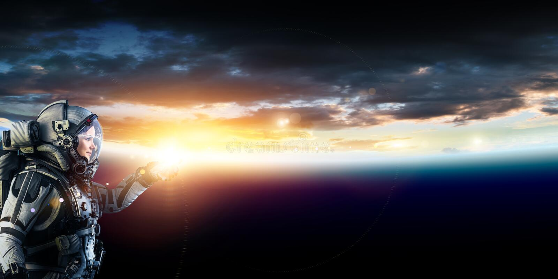 Astronauta w przestrzeni na planety orbicie zdjęcie royalty free