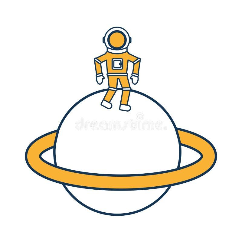 Astronauta w Saturn komicznego charakteru ikonie royalty ilustracja