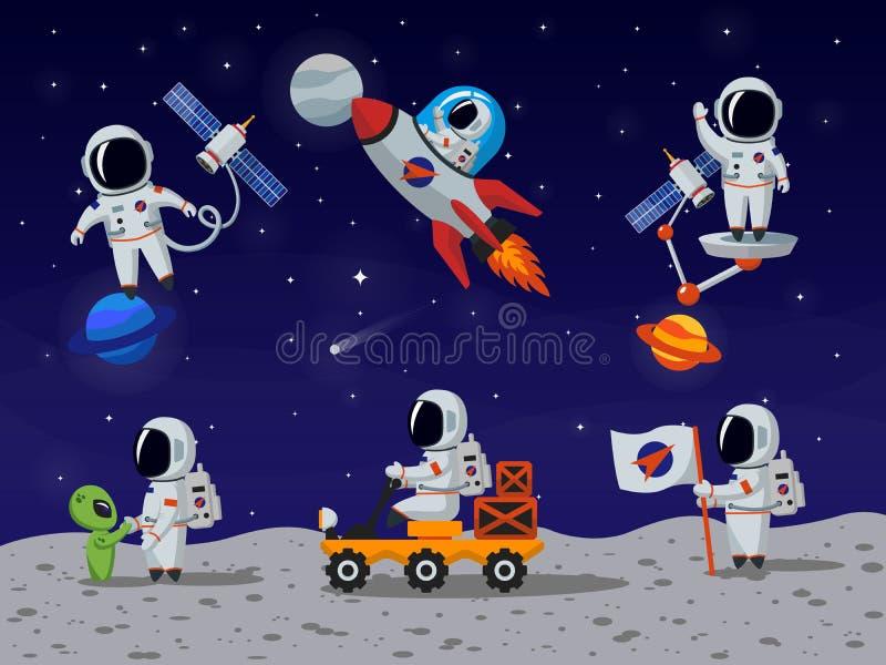 Astronauta wektorowi charaktery ustawiający w płaskiej kreskówce projektują ilustracji