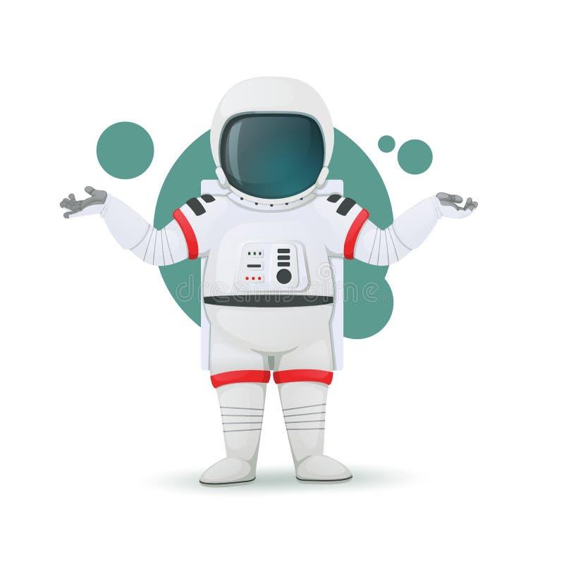 Astronauta wzrusza ramionami pokazywać wątpliwość, zamieszanie lub braka wiedza, Intrygujący wyrażenie tła postać z kreskówki zuc ilustracji