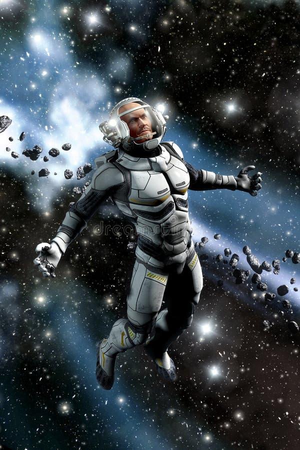 Astronauta y campo asteroide libre illustration