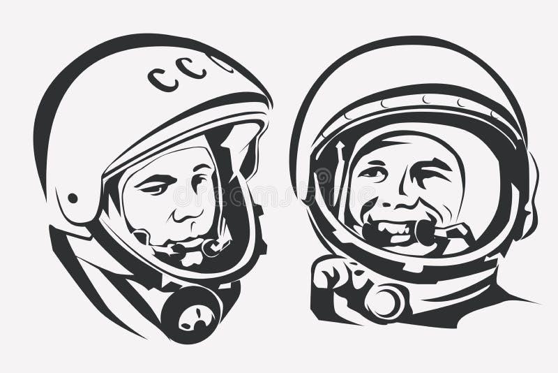 Astronauta Yuri Gagarin stylizowany wektorowy symbol royalty ilustracja