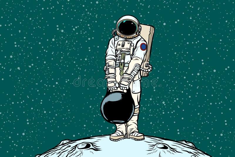Astronauta z ładunków ciężarami royalty ilustracja