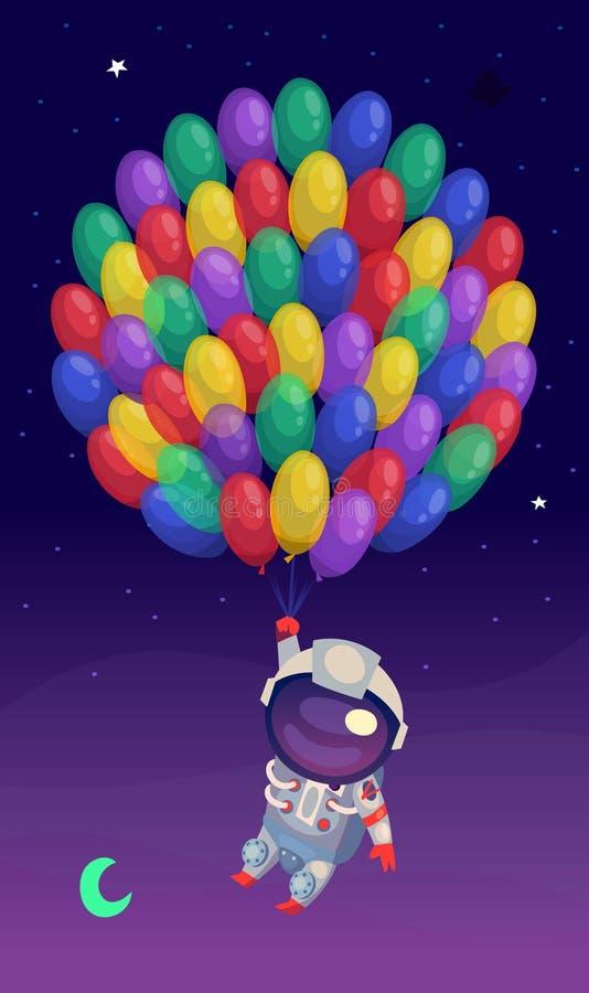 Astronauta z balonami royalty ilustracja