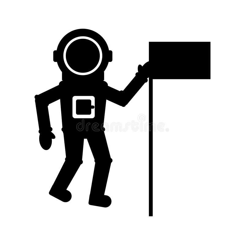 Astronauta z chorągwianą komicznego charakteru ikoną royalty ilustracja