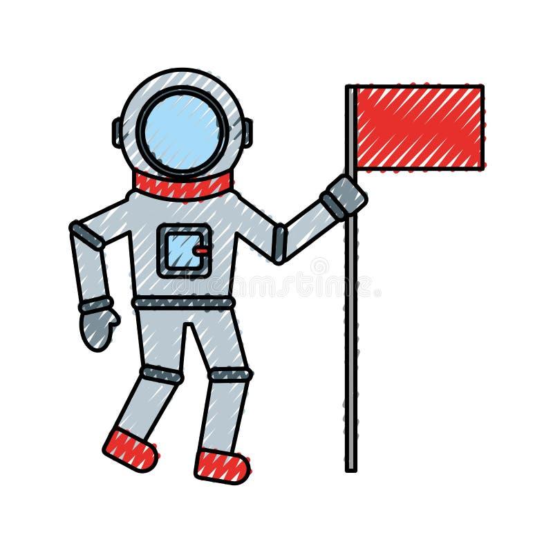 Astronauta z chorągwianą komicznego charakteru ikoną ilustracja wektor