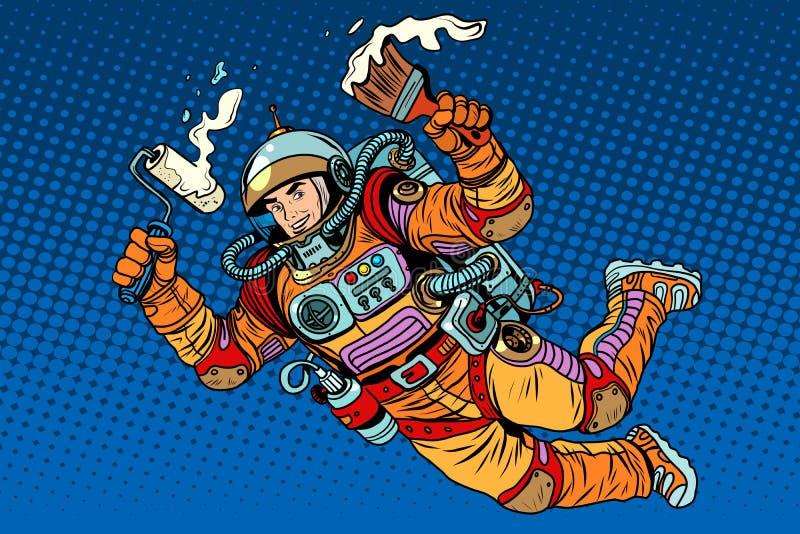Astronauta z farbą robi naprawie ilustracja wektor