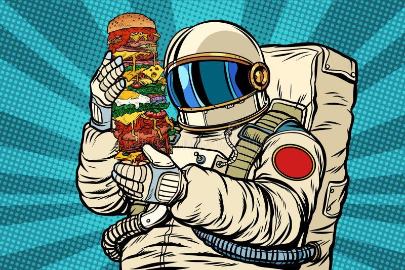 Astronauta z gigantycznym hamburgerem ilustracja wektor