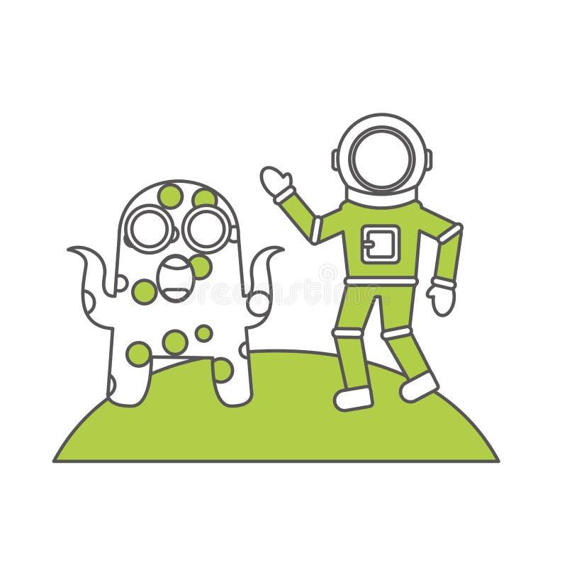 Astronauta z obcą komicznego charakteru ikoną ilustracji