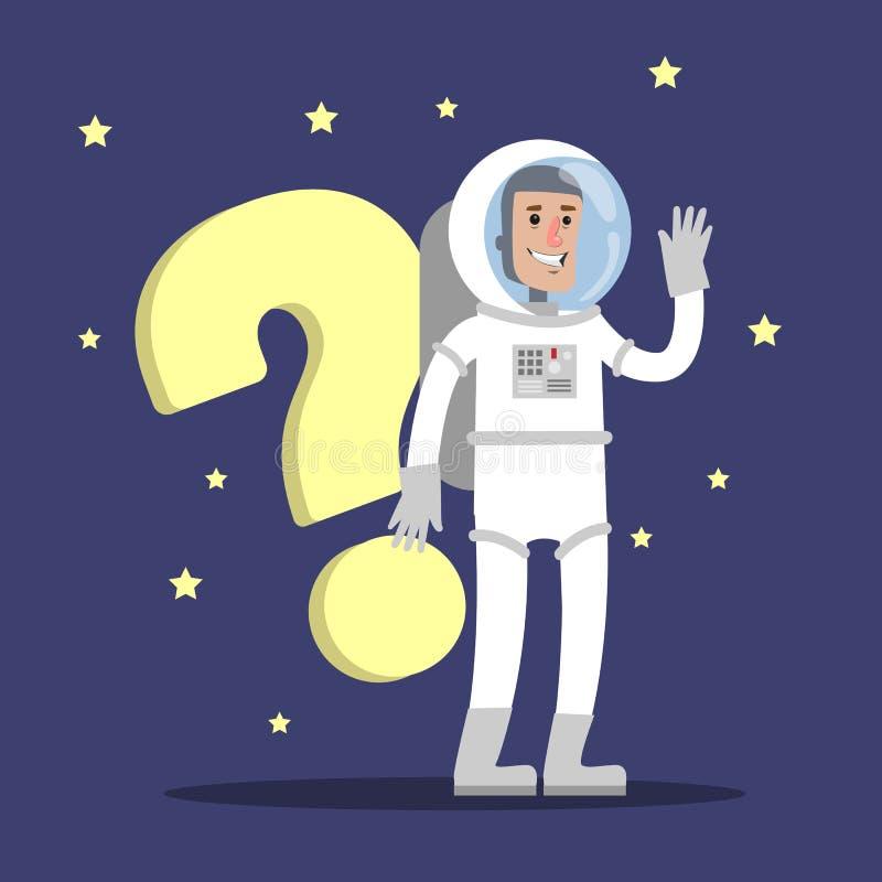 Astronauta z pytaniem ilustracja wektor