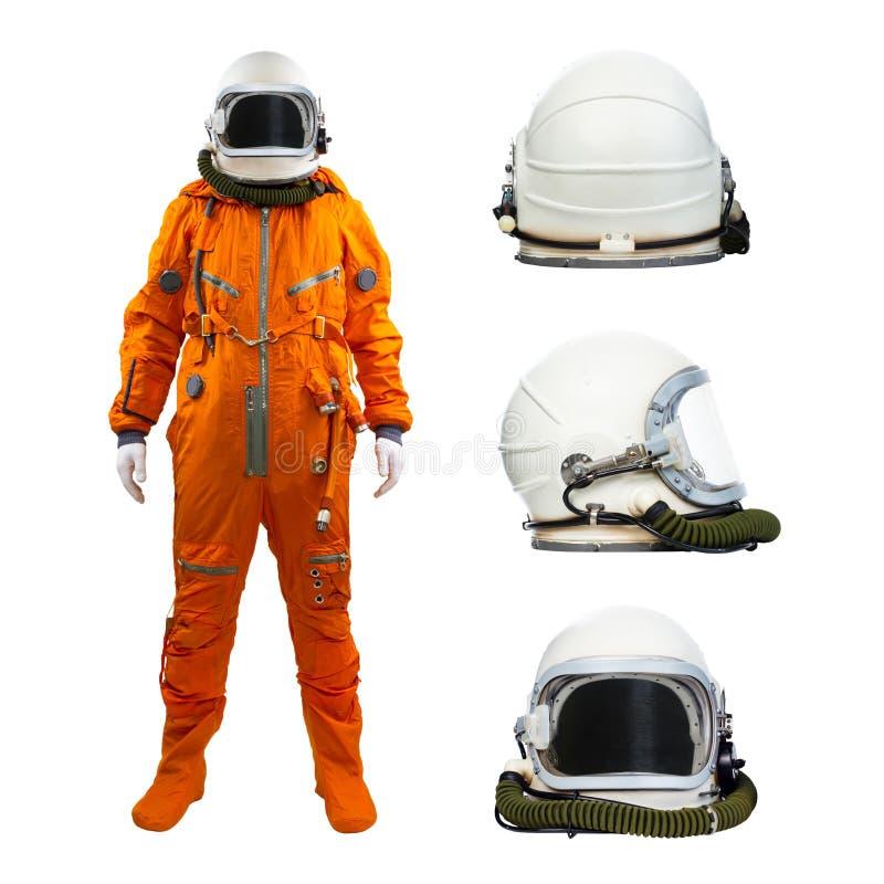 Astronauta z setem hełmy odizolowywający na białym tle zdjęcie stock