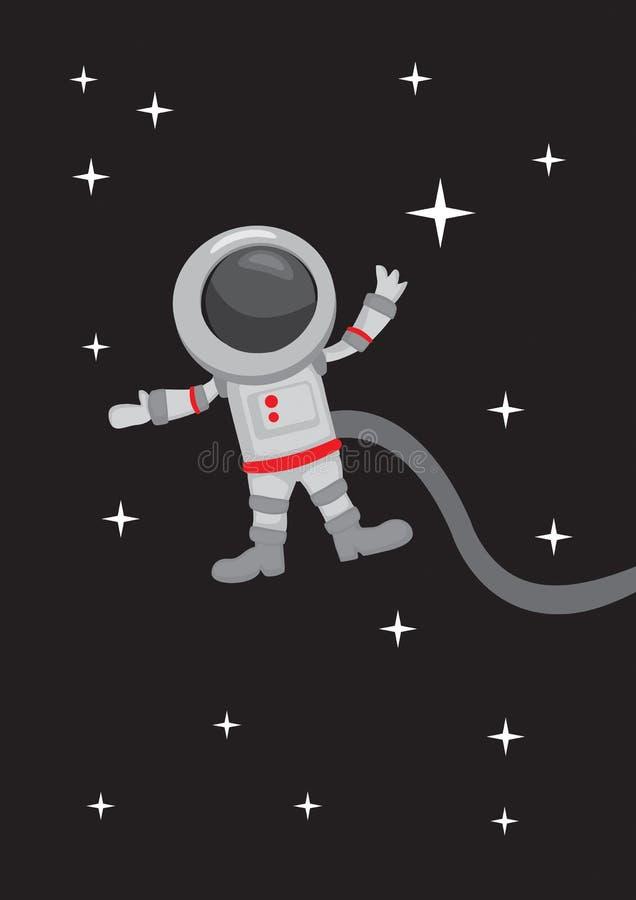 Astronauta Zero Gravity en espacio exterior libre illustration