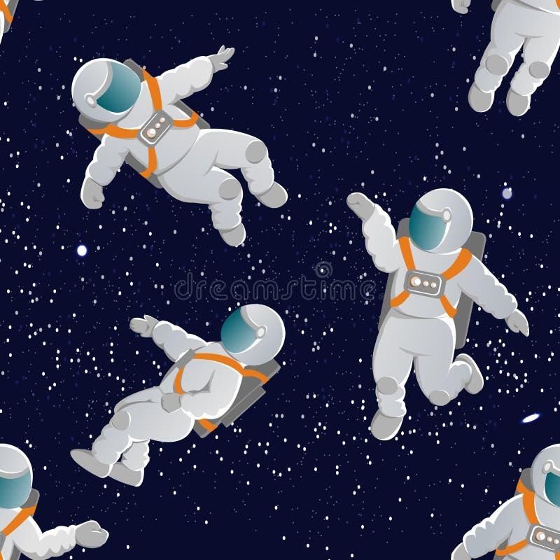 Astronautas com os ternos de espaço em várias poses Teste padrão sem emenda do vetor ilustração stock