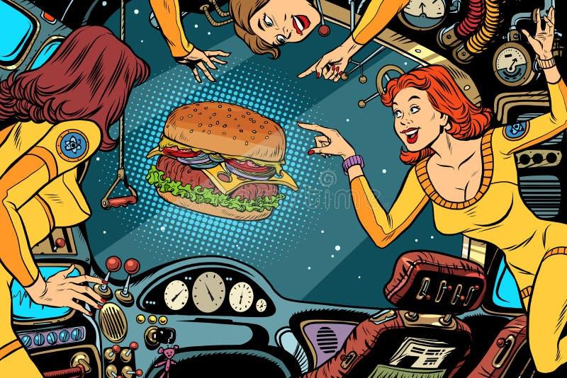Astronautas de las mujeres en la cabina de una nave espacial y de una hamburguesa ilustración del vector