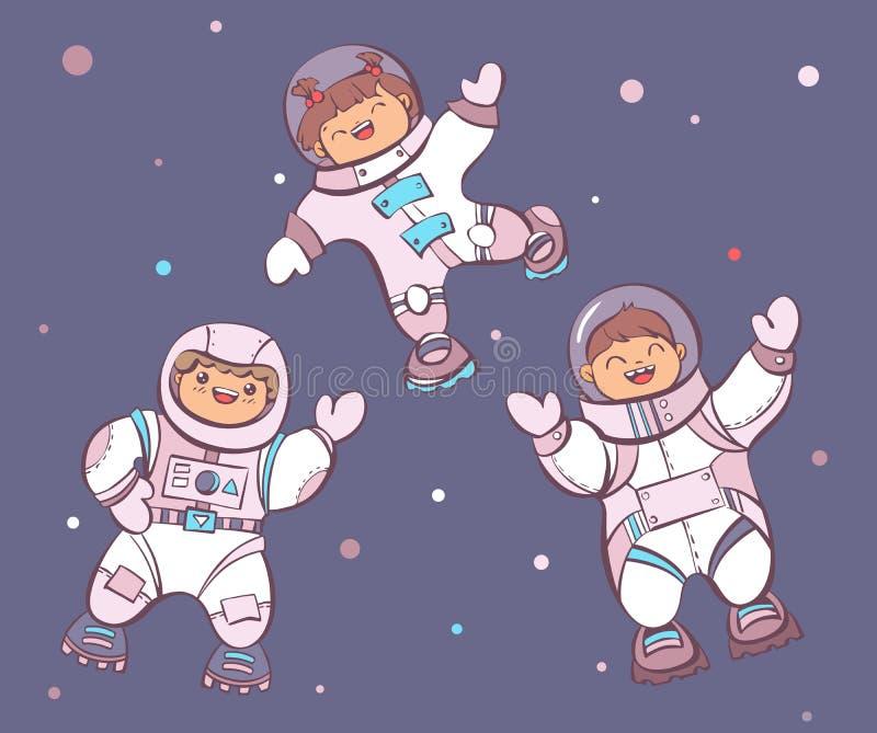 ? astronautas do artoon no espaço, ilustração do vetor ilustração do vetor