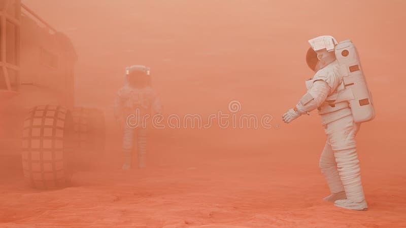 Astronautas em Marte, andando para seu carro em uma tempestade de areia marciana ilustração royalty free