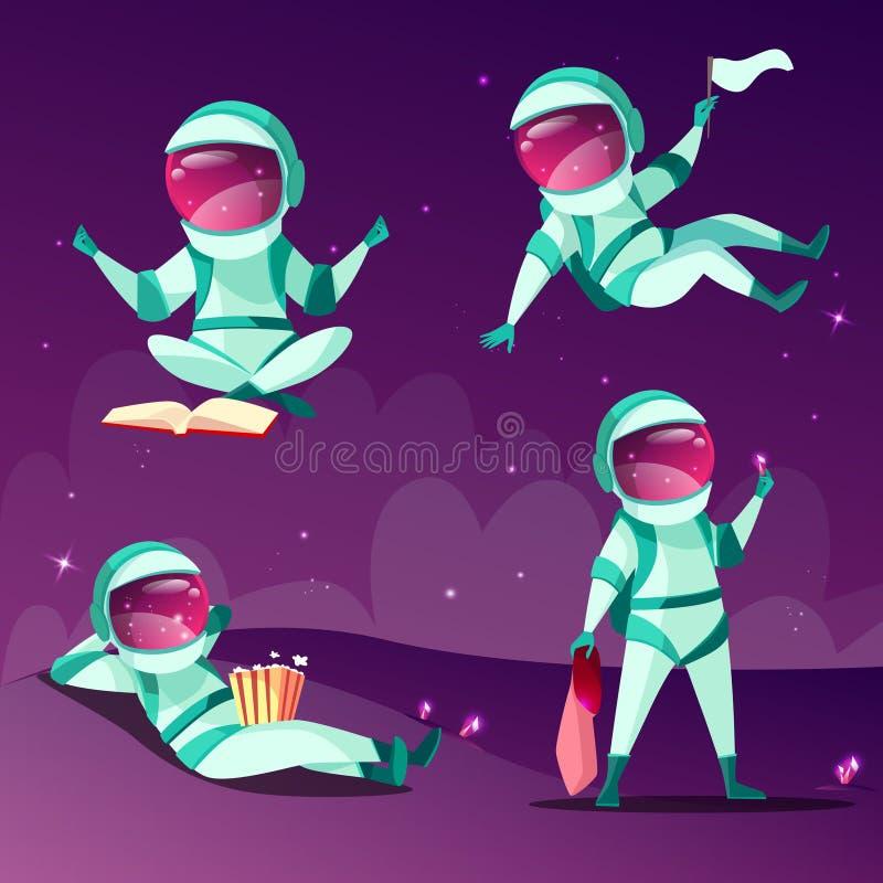 Astronautas en el ejemplo de la historieta del vector del planeta de la gravedad cero de la ingravidez libre illustration