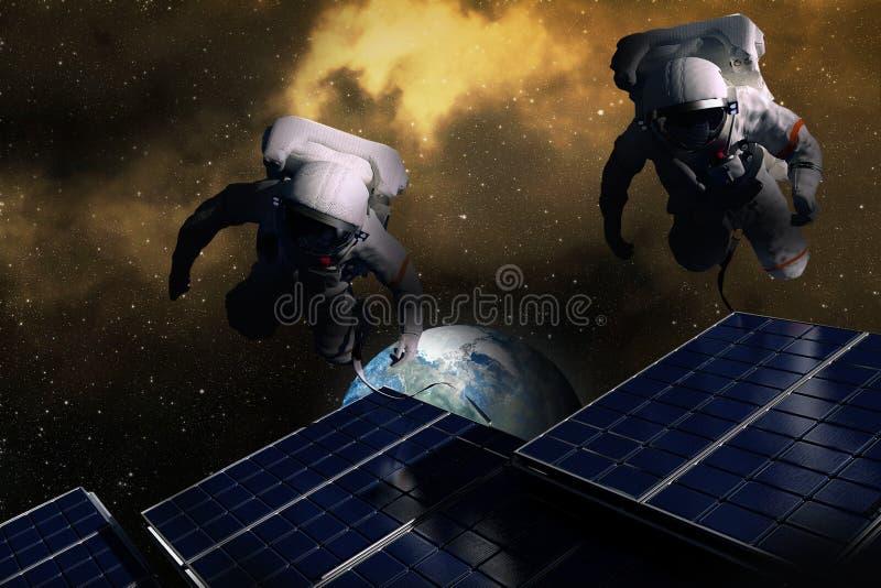 Astronautas no espaço ilustração do vetor