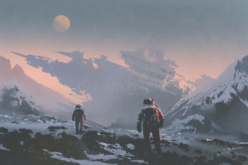 Astronautas que andam à nave espacial abandonada no planeta estrangeiro ilustração do vetor