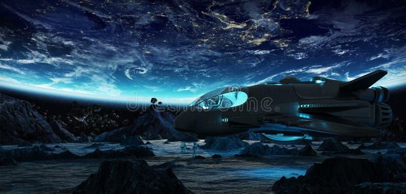 Astronautas que exploran elementos asteroides de una representación 3D de esto i libre illustration