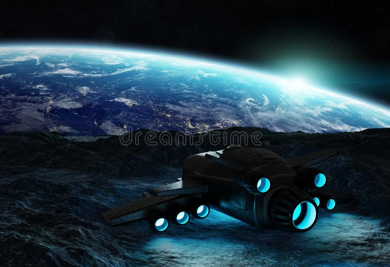 Astronautas que exploran elementos asteroides de una representación 3D de esto i stock de ilustración